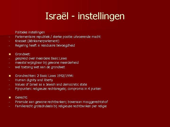 Israël - instellingen n - Politieke instellingen Parlementaire republiek / sterke positie uitvoerende macht