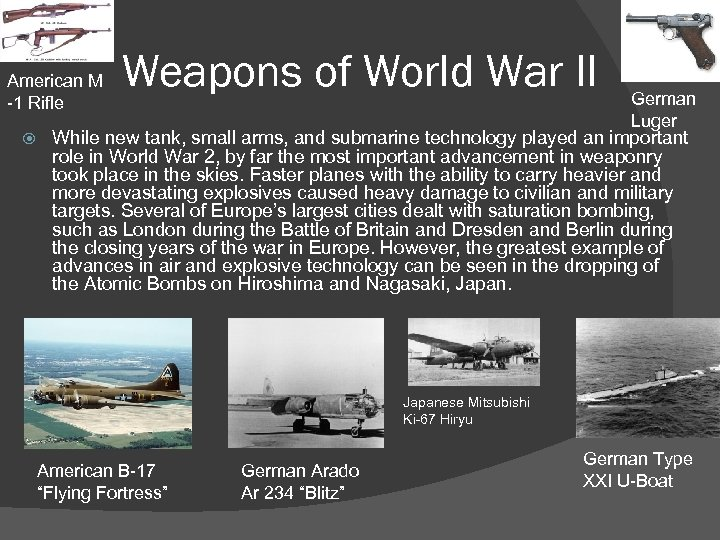 American M -1 Rifle Weapons of World War II German Luger While new tank,