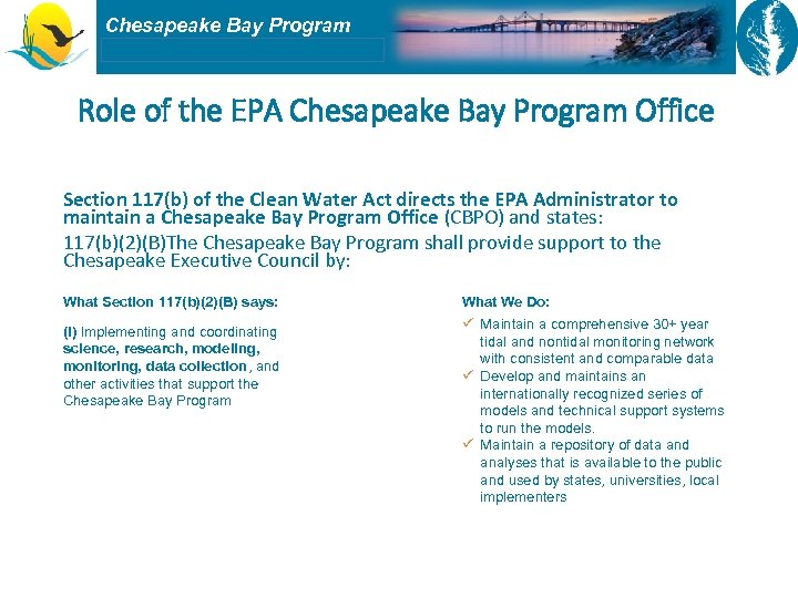 Chesapeake Bay Program Role of the EPA Chesapeake Bay Program Office Section 117(b) of