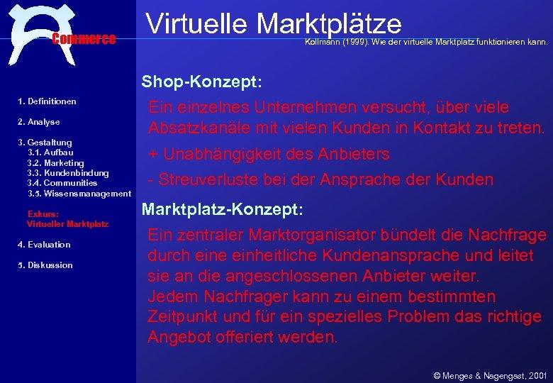Commerce Virtuelle Marktplätze Kollmann (1999). Wie der virtuelle Marktplatz funktionieren kann. Shop-Konzept: 1. Definitionen