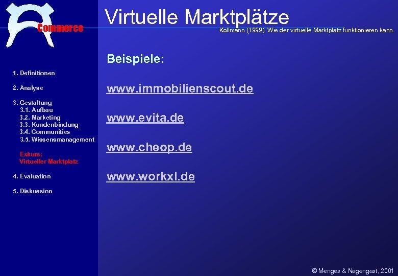 Commerce Virtuelle Marktplätze Kollmann (1999). Wie der virtuelle Marktplatz funktionieren kann. Beispiele: 1. Definitionen