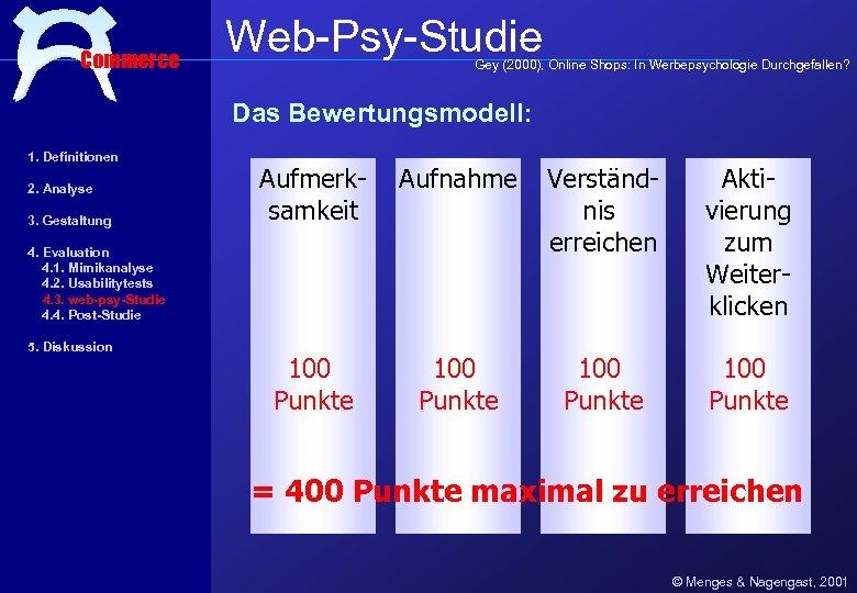 Commerce Web-Psy-Studie Gey (2000), Online Shops: In Werbepsychologie Durchgefallen? Das Bewertungsmodell: 1. Definitionen 2.