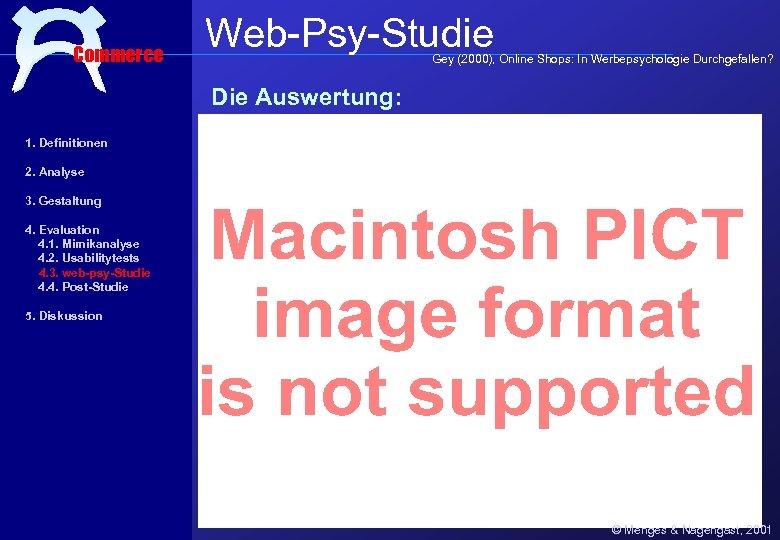 Commerce Web-Psy-Studie Gey (2000), Online Shops: In Werbepsychologie Durchgefallen? Die Auswertung: 1. Definitionen 2.