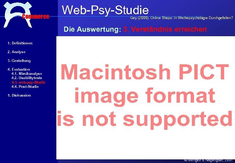 Commerce Web-Psy-Studie Gey (2000), Online Shops: In Werbepsychologie Durchgefallen? Die Auswertung: 3. Verständnis erreichen