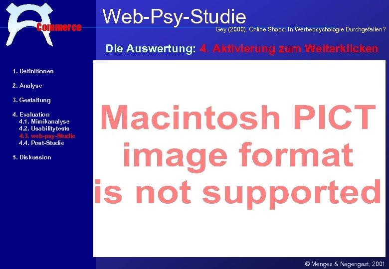 Commerce Web-Psy-Studie Gey (2000), Online Shops: In Werbepsychologie Durchgefallen? Die Auswertung: 4. Aktivierung zum