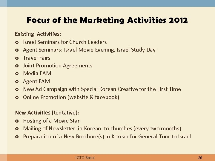 Focus of the Marketing Activities 2012 Existing Activities: Israel Seminars for Church Leaders Agent