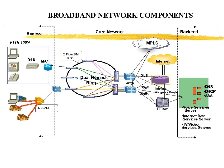 BROADBAND NETWORK COMPONENTS Core Network Access FTTH 100 M STB Backend MPLS M/C 2