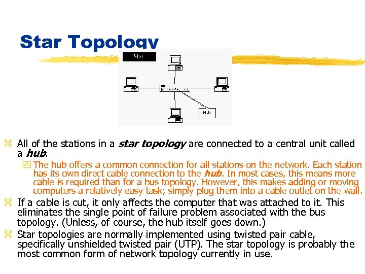 Star Topology z All of the stations in a star topology are connected to