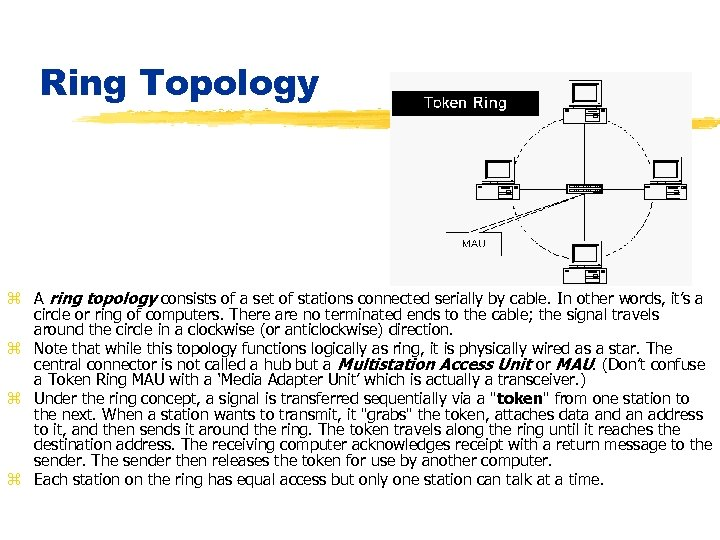 Ring Topology z A ring topology consists of a set of stations connected serially