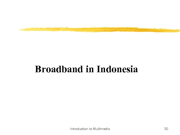 Broadband in Indonesia Introduction to Multimedia 30