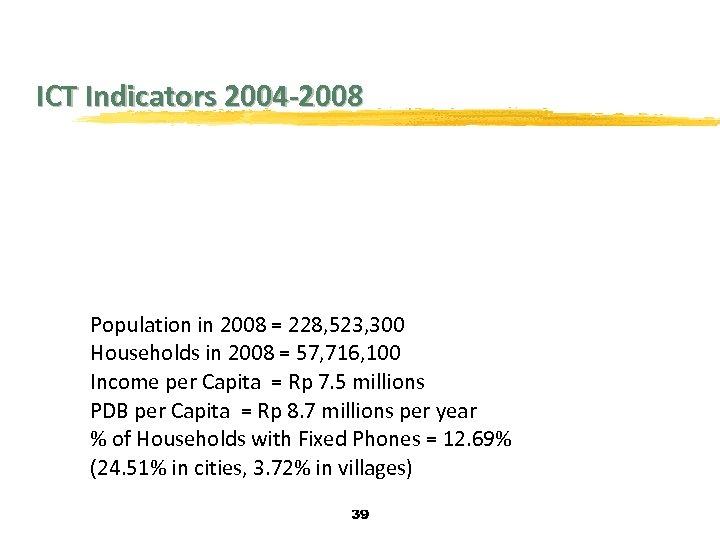 ICT Indicators 2004 -2008 Population in 2008 = 228, 523, 300 Households in 2008