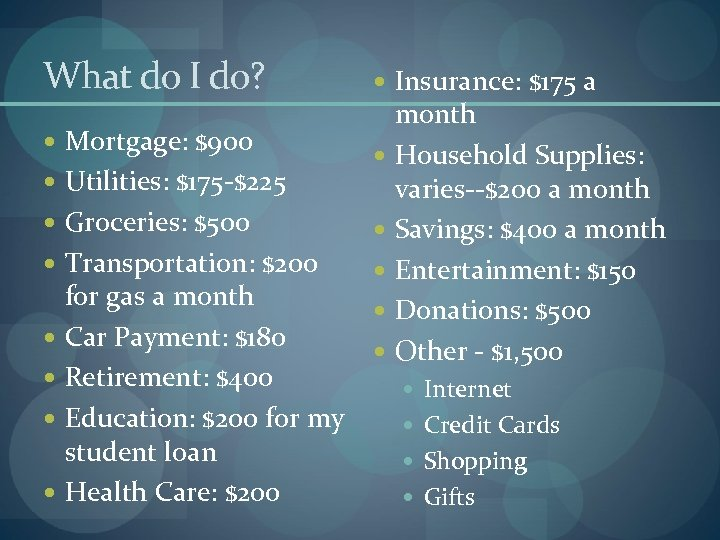 What do I do? Mortgage: $900 Utilities: $175 -$225 Groceries: $500 Transportation: $200 for