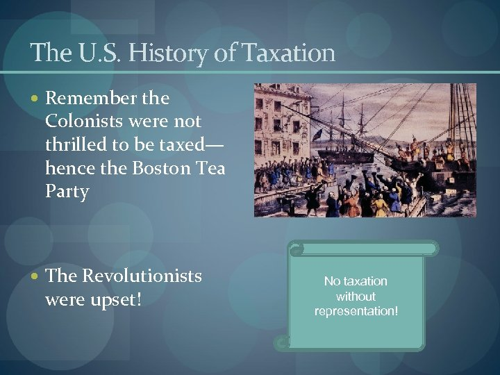 The U. S. History of Taxation Remember the Colonists were not thrilled to be