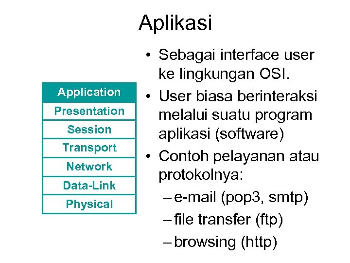 Aplikasi Application Presentation Session Transport Network Data-Link Physical • Sebagai interface user ke lingkungan
