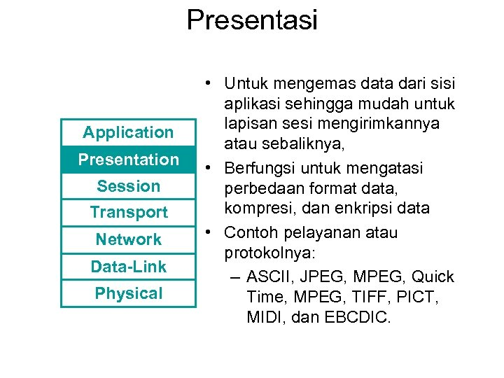 Presentasi Application Presentation Session Transport Network Data-Link Physical • Untuk mengemas data dari sisi