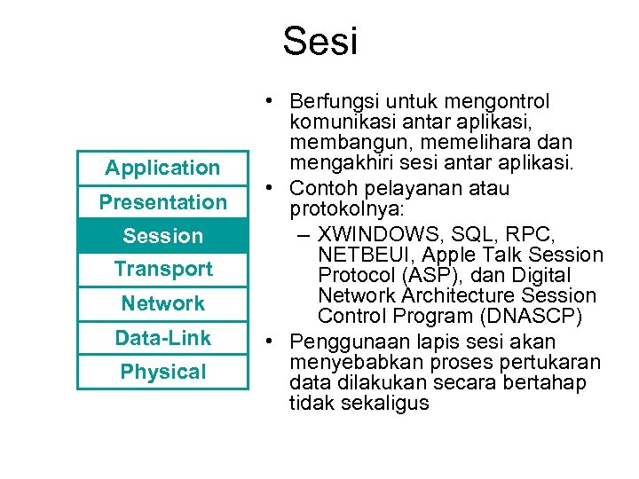 Sesi Application Presentation Session Transport Network Data-Link Physical • Berfungsi untuk mengontrol komunikasi antar