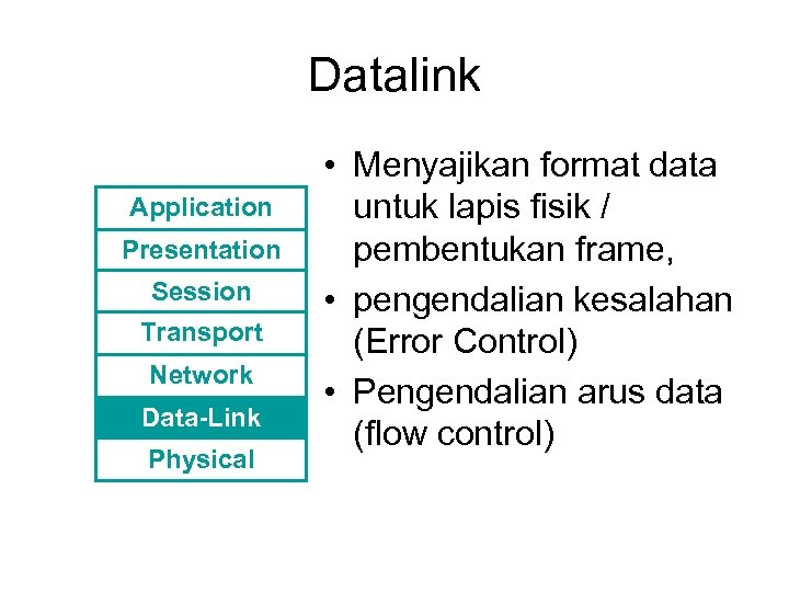 Datalink Application Presentation Session Transport Network Data-Link Physical • Menyajikan format data untuk lapis
