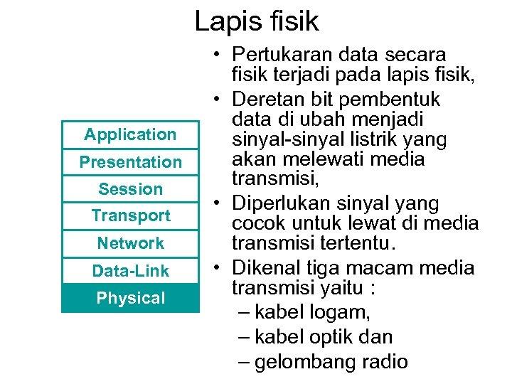 Lapis fisik Application Presentation Session Transport Network Data-Link Physical • Pertukaran data secara fisik