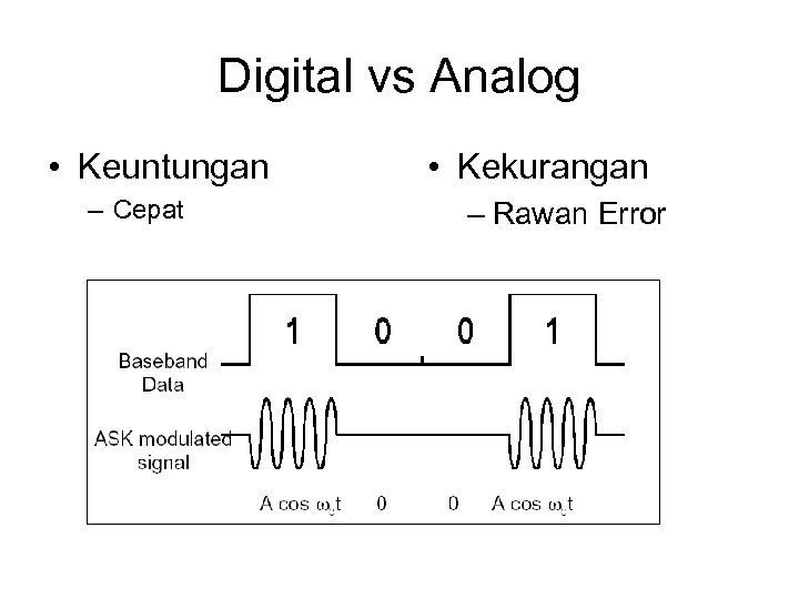 Digital vs Analog • Keuntungan – Cepat • Kekurangan – Rawan Error