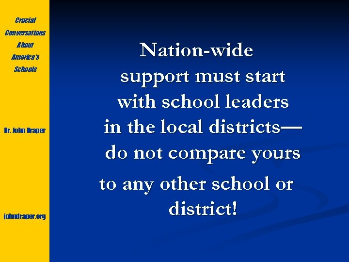 Crucial Conversations About America's Schools Dr. John Draper johndraper. org Nation-wide support must start