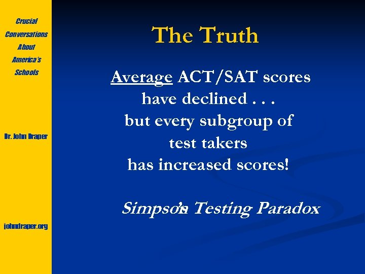 Crucial Conversations About The Truth America's Schools Dr. John Draper Average ACT/SAT scores have
