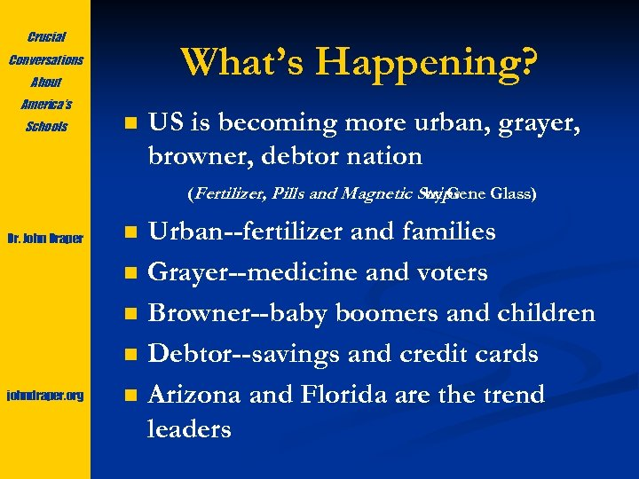 Crucial What's Happening? Conversations About America's Schools n US is becoming more urban, grayer,