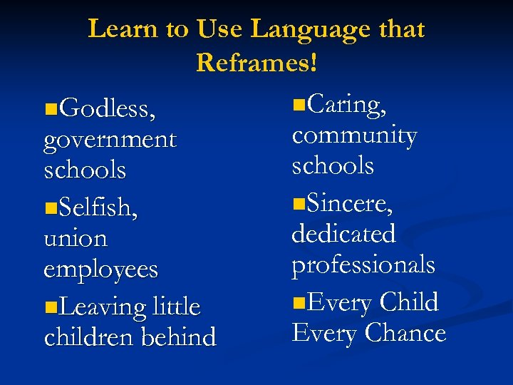 Learn to Use Language that Reframes! n. Caring, n. Godless, community government schools n.