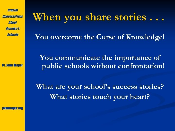 Crucial Conversations About When you share stories. . . America's Schools Dr. John Draper