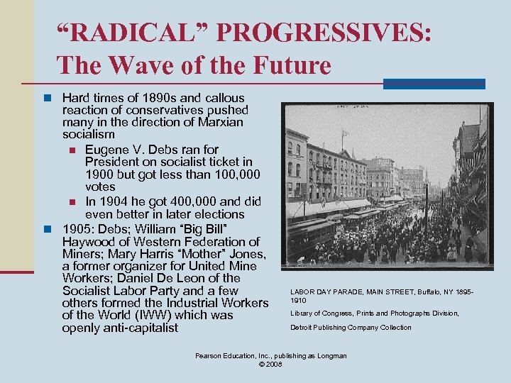 """""""RADICAL"""" PROGRESSIVES: The Wave of the Future n Hard times of 1890 s and"""