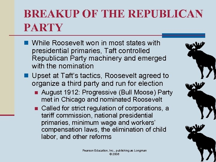 BREAKUP OF THE REPUBLICAN PARTY n While Roosevelt won in most states with presidential