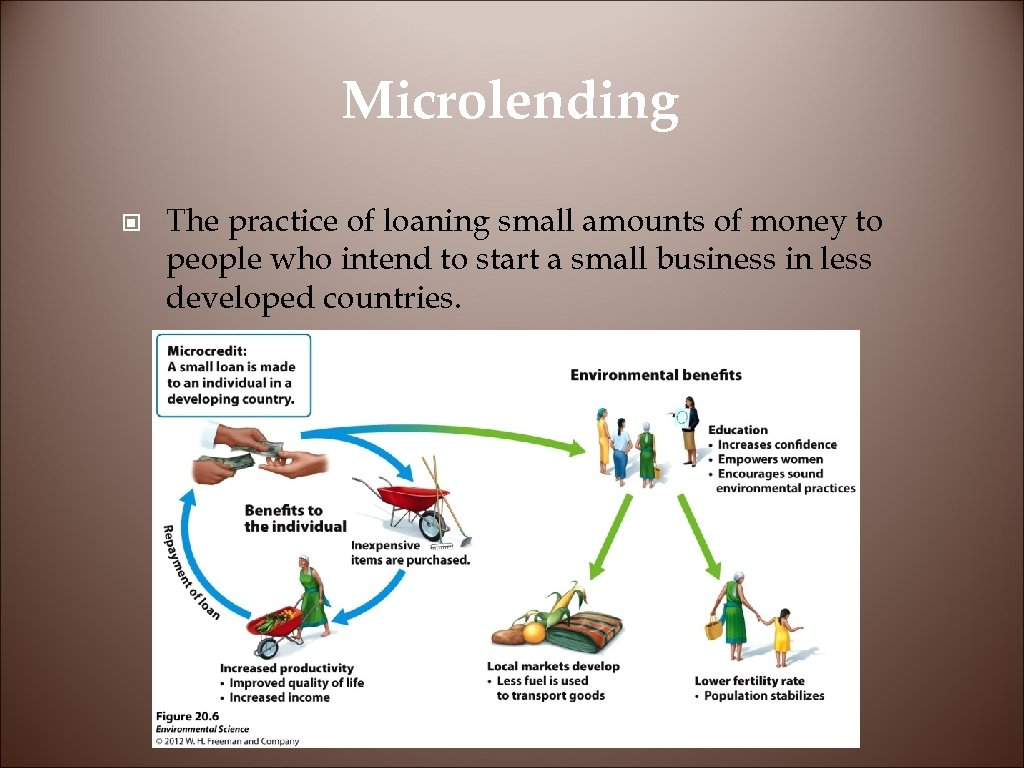 Microlending © The practice of loaning small amounts of money to people who intend