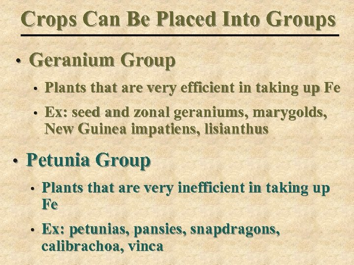 Crops Can Be Placed Into Groups • Geranium Group • • • Plants that