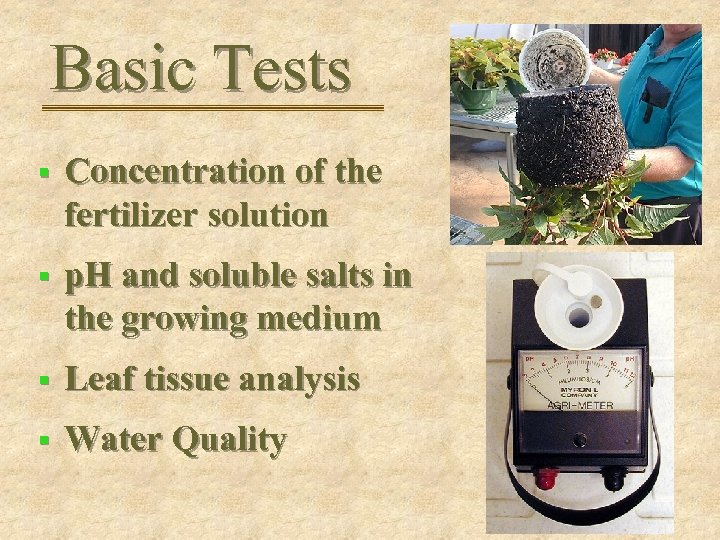 Basic Tests § Concentration of the fertilizer solution § p. H and soluble salts