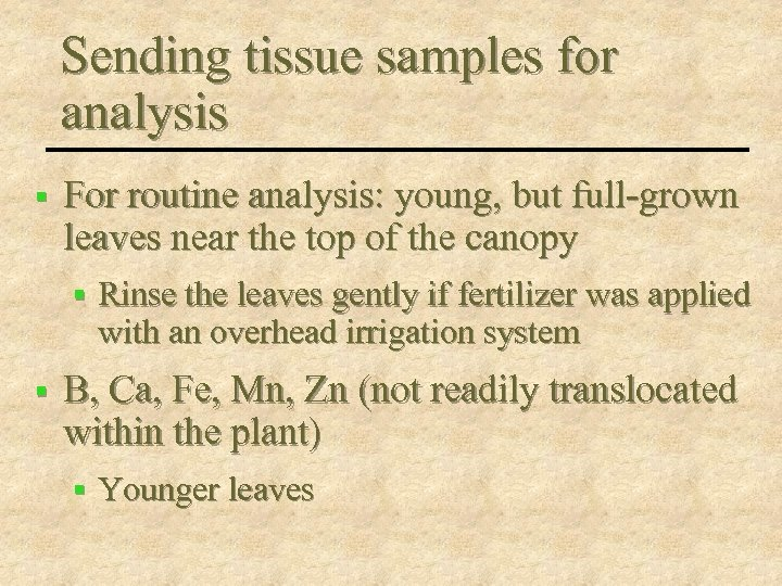 Sending tissue samples for analysis § For routine analysis: young, but full-grown leaves near
