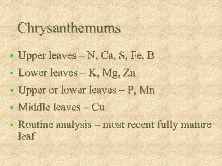 Chrysanthemums § Upper leaves – N, Ca, S, Fe, B § Lower leaves –