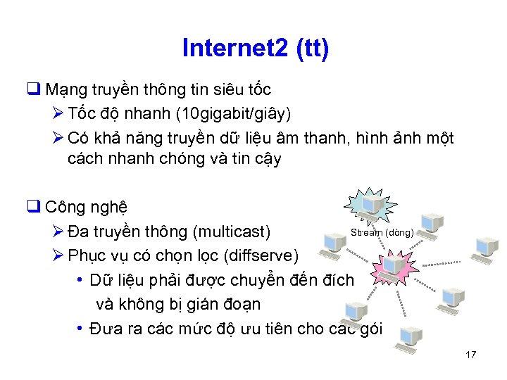 Internet 2 (tt) q Mạng truyền thông tin siêu tốc Ø Tốc độ nhanh
