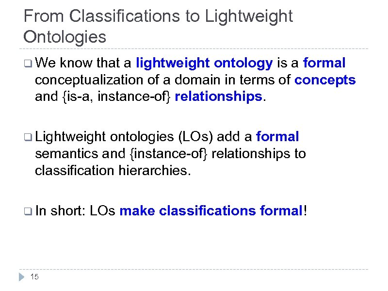 From Classifications to Lightweight Ontologies q We know that a lightweight ontology is a