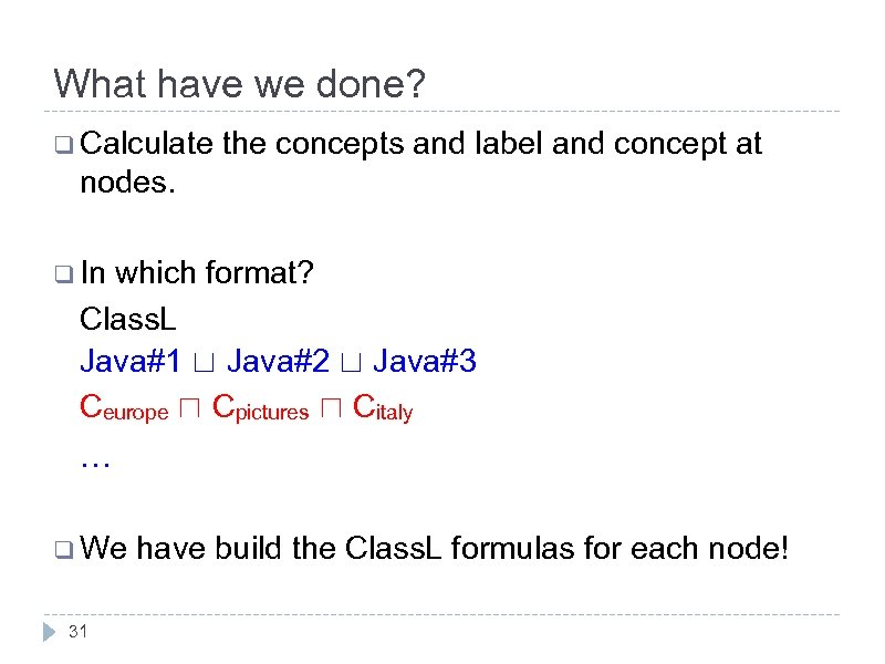 What have we done? q Calculate the concepts and label and concept at nodes.