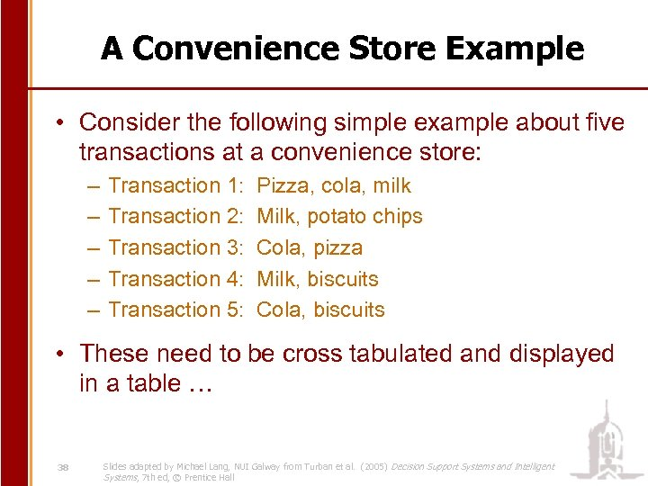 A Convenience Store Example • Consider the following simple example about five transactions at