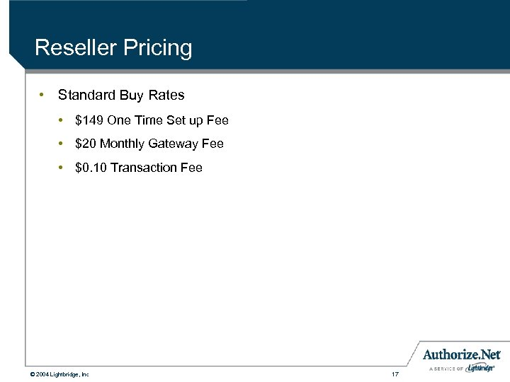 Reseller Pricing • Standard Buy Rates • $149 One Time Set up Fee •