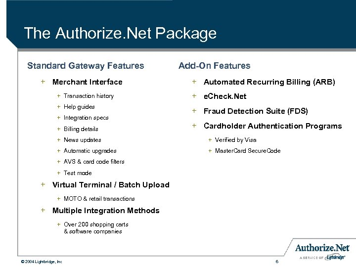 The Authorize. Net Package Standard Gateway Features + Merchant Interface + Transaction history +