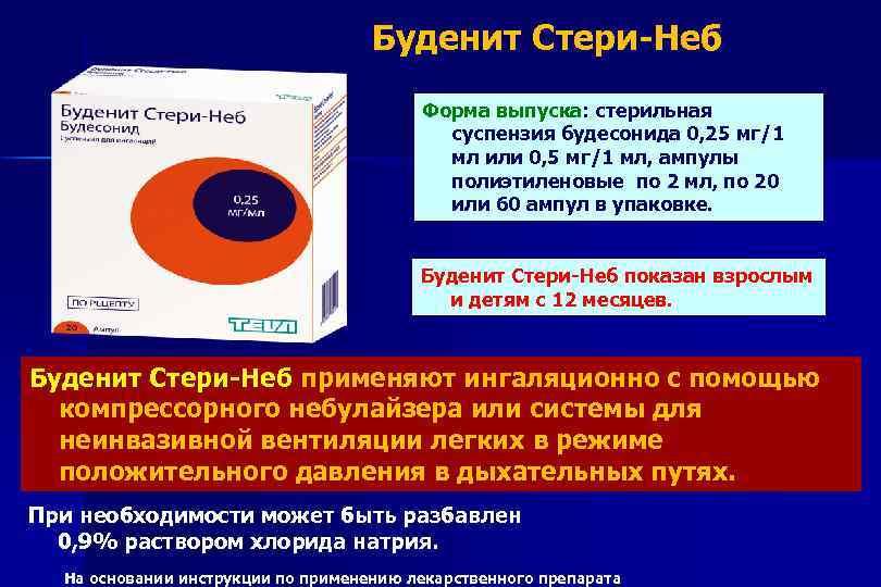 Буденит Стери-Неб Форма выпуска: стерильная суспензия будесонида 0, 25 мг/1 мл или 0, 5