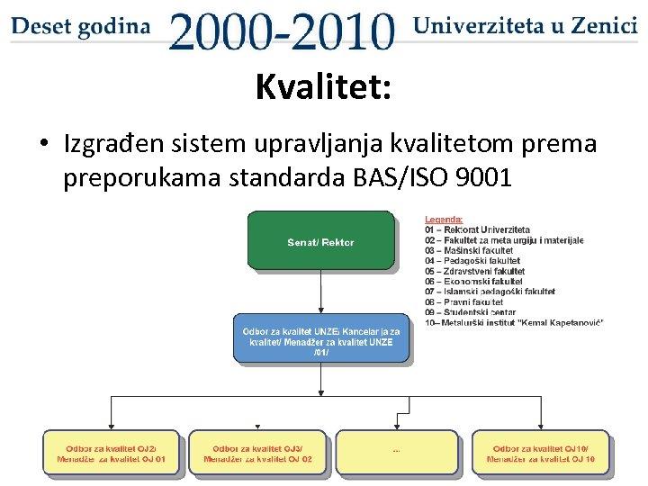 Kvalitet: • Izgrađen sistem upravljanja kvalitetom prema preporukama standarda BAS/ISO 9001