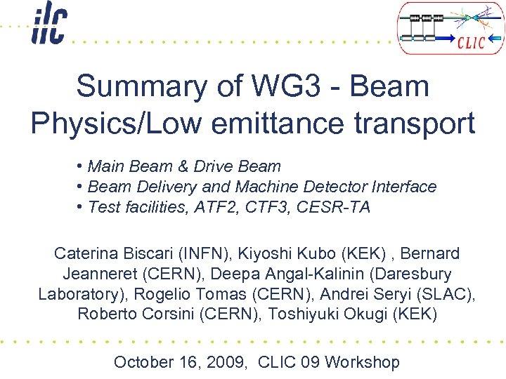 Summary of WG 3 - Beam Physics/Low emittance transport • Main Beam & Drive