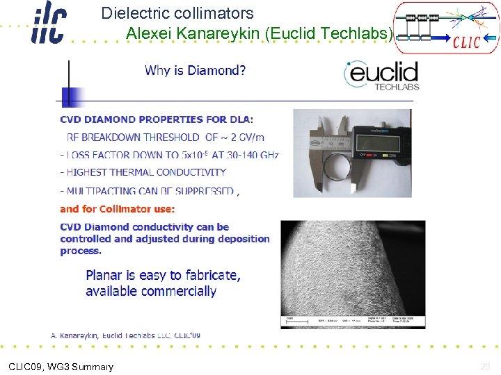 Dielectric collimators Alexei Kanareykin (Euclid Techlabs) CLIC 09, WG 3 Summary 25