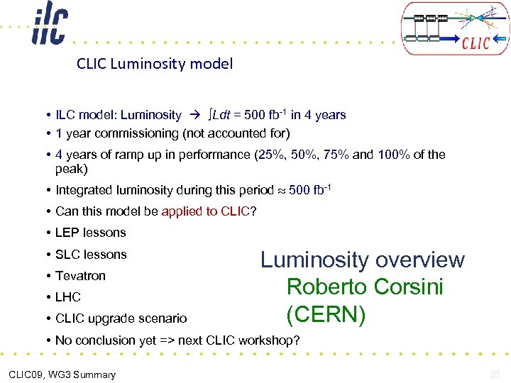CLIC Luminosity model • ILC model: Luminosity ∫Ldt = 500 fb-1 in 4 years