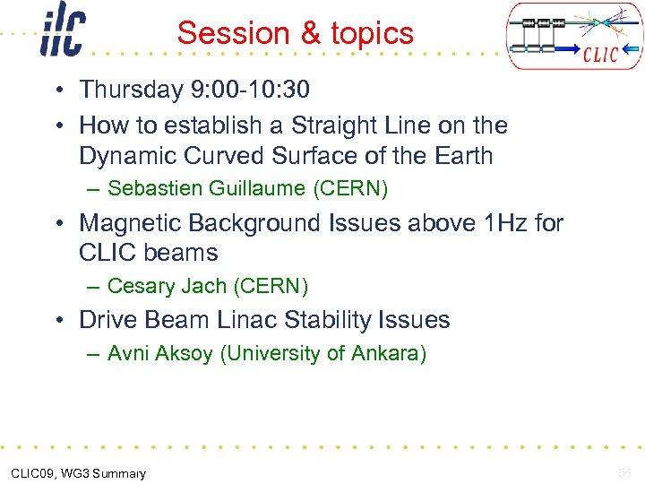 Session & topics • Thursday 9: 00 -10: 30 • How to establish a