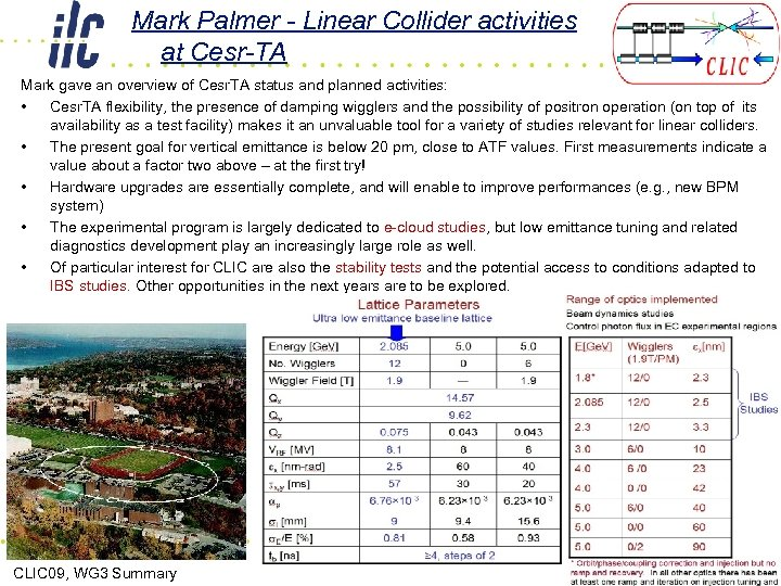 Mark Palmer - Linear Collider activities at Cesr-TA Mark gave an overview of Cesr.