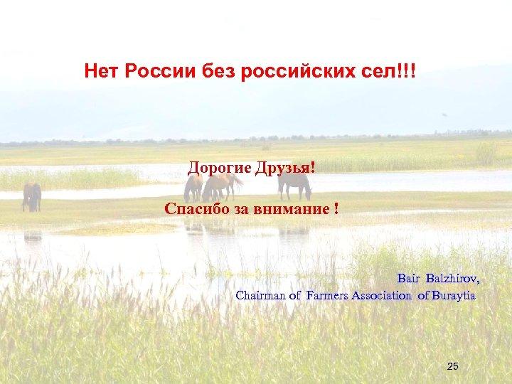 Нет России без российских сел!!! Дорогие Друзья! Спасибо за внимание ! Bair Balzhirov, Chairman