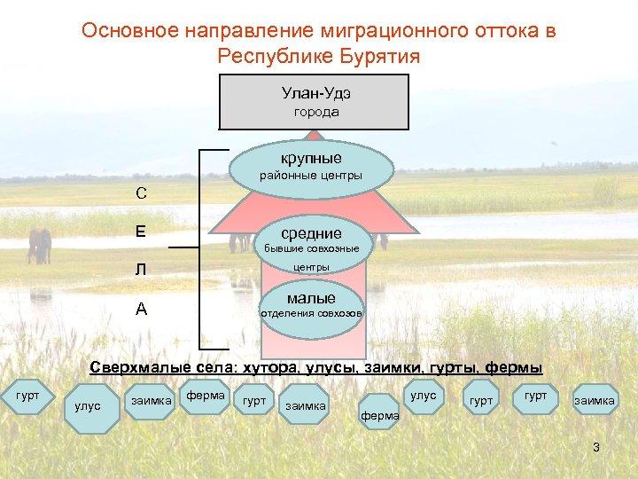 Основное направление миграционного оттока в Республике Бурятия Улан-Удэ города крупные районные центры С Е